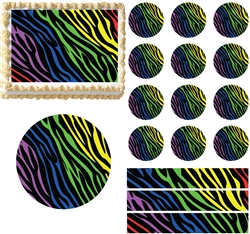 Rainbow zebra print edible cake topper image cake for Animal print edible cake decoration