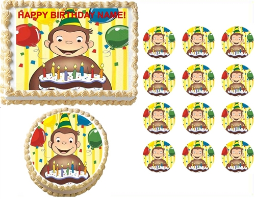 Edible Cake Images Curious George : Curious George Party Edible Cake Topper Frosting Sheet ...